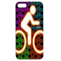 Bike Neon Colors Graphic Bright Bicycle Light Purple Orange Gold Green Blue Apple Iphone 5 Hardshell Case With Stand by Alisyart