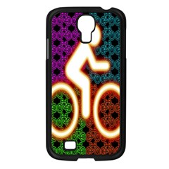 Bike Neon Colors Graphic Bright Bicycle Light Purple Orange Gold Green Blue Samsung Galaxy S4 I9500/ I9505 Case (black) by Alisyart