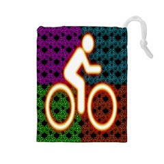 Bike Neon Colors Graphic Bright Bicycle Light Purple Orange Gold Green Blue Drawstring Pouches (large)  by Alisyart