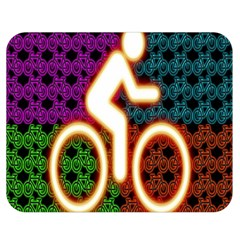 Bike Neon Colors Graphic Bright Bicycle Light Purple Orange Gold Green Blue Double Sided Flano Blanket (medium)  by Alisyart