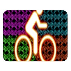Bike Neon Colors Graphic Bright Bicycle Light Purple Orange Gold Green Blue Double Sided Flano Blanket (large)  by Alisyart
