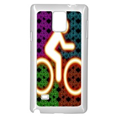 Bike Neon Colors Graphic Bright Bicycle Light Purple Orange Gold Green Blue Samsung Galaxy Note 4 Case (white) by Alisyart