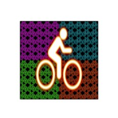 Bike Neon Colors Graphic Bright Bicycle Light Purple Orange Gold Green Blue Satin Bandana Scarf by Alisyart