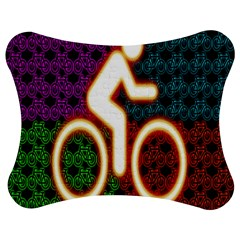 Bike Neon Colors Graphic Bright Bicycle Light Purple Orange Gold Green Blue Jigsaw Puzzle Photo Stand (bow) by Alisyart