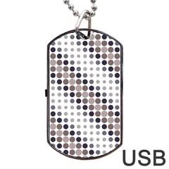 Circle Blue Grey Line Waves Black Dog Tag Usb Flash (two Sides) by Alisyart