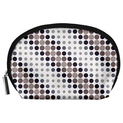 Circle Blue Grey Line Waves Black Accessory Pouches (large)  by Alisyart
