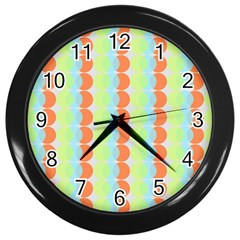 Circles Orange Blue Green Yellow Wall Clocks (black) by Alisyart