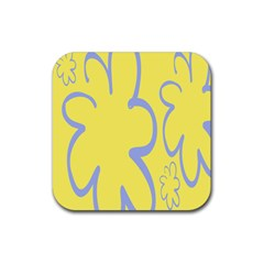 Doodle Shapes Large Flower Floral Grey Yellow Rubber Square Coaster (4 Pack)  by Alisyart