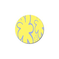 Doodle Shapes Large Flower Floral Grey Yellow Golf Ball Marker (4 Pack) by Alisyart