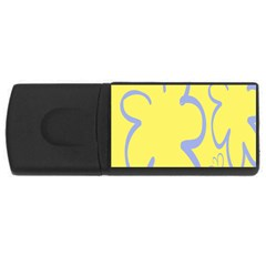 Doodle Shapes Large Flower Floral Grey Yellow Usb Flash Drive Rectangular (4 Gb) by Alisyart