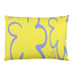 Doodle Shapes Large Flower Floral Grey Yellow Pillow Case by Alisyart
