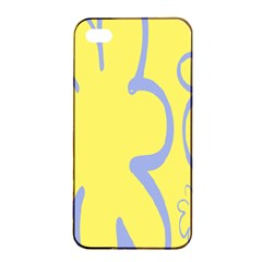 Doodle Shapes Large Flower Floral Grey Yellow Apple Iphone 4/4s Seamless Case (black) by Alisyart