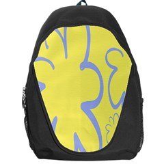 Doodle Shapes Large Flower Floral Grey Yellow Backpack Bag by Alisyart