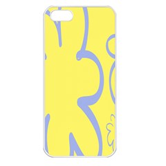 Doodle Shapes Large Flower Floral Grey Yellow Apple Iphone 5 Seamless Case (white) by Alisyart