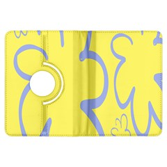 Doodle Shapes Large Flower Floral Grey Yellow Kindle Fire Hdx Flip 360 Case by Alisyart