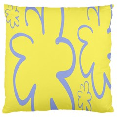 Doodle Shapes Large Flower Floral Grey Yellow Large Flano Cushion Case (two Sides) by Alisyart