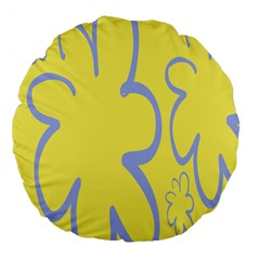Doodle Shapes Large Flower Floral Grey Yellow Large 18  Premium Flano Round Cushions by Alisyart