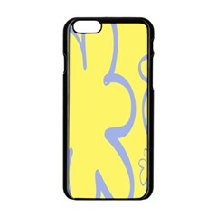 Doodle Shapes Large Flower Floral Grey Yellow Apple Iphone 6/6s Black Enamel Case by Alisyart