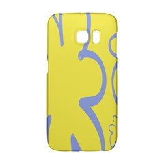 Doodle Shapes Large Flower Floral Grey Yellow Galaxy S6 Edge by Alisyart