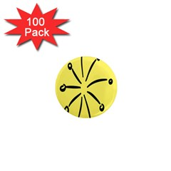 Doodle Shapes Large Line Circle Black Yellow 1  Mini Magnets (100 Pack)  by Alisyart