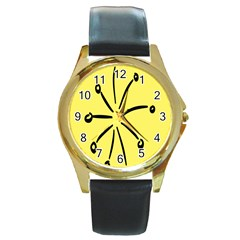 Doodle Shapes Large Line Circle Black Yellow Round Gold Metal Watch by Alisyart