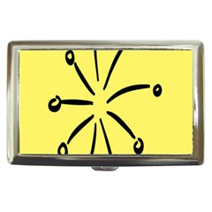 Doodle Shapes Large Line Circle Black Yellow Cigarette Money Cases by Alisyart