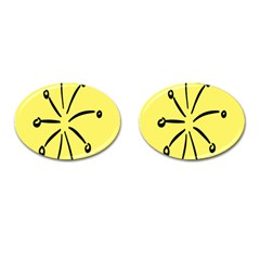 Doodle Shapes Large Line Circle Black Yellow Cufflinks (oval) by Alisyart
