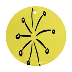 Doodle Shapes Large Line Circle Black Yellow Round Ornament (two Sides) by Alisyart