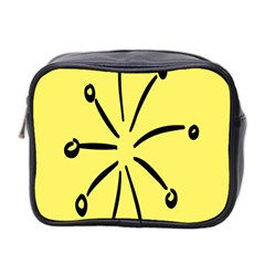 Doodle Shapes Large Line Circle Black Yellow Mini Toiletries Bag 2 Side by Alisyart