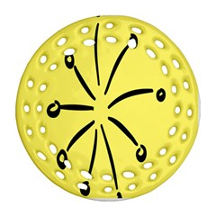 Doodle Shapes Large Line Circle Black Yellow Round Filigree Ornament (two Sides) by Alisyart