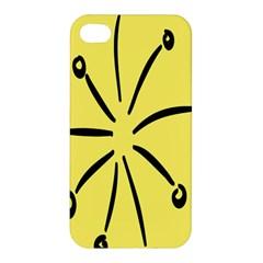 Doodle Shapes Large Line Circle Black Yellow Apple Iphone 4/4s Premium Hardshell Case by Alisyart