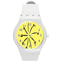Doodle Shapes Large Line Circle Black Yellow Round Plastic Sport Watch (m) by Alisyart