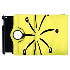 Doodle Shapes Large Line Circle Black Yellow Apple Ipad 3/4 Flip 360 Case by Alisyart