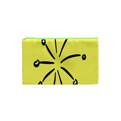 Doodle Shapes Large Line Circle Black Yellow Cosmetic Bag (xs) by Alisyart