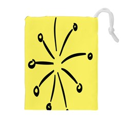 Doodle Shapes Large Line Circle Black Yellow Drawstring Pouches (extra Large) by Alisyart