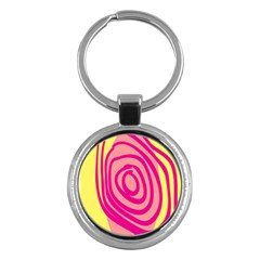Doodle Shapes Large Line Circle Pink Red Yellow Key Chains (round)  by Alisyart