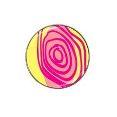 Doodle Shapes Large Line Circle Pink Red Yellow Hat Clip Ball Marker by Alisyart