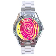 Doodle Shapes Large Line Circle Pink Red Yellow Stainless Steel Analogue Watch by Alisyart