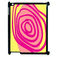 Doodle Shapes Large Line Circle Pink Red Yellow Apple Ipad 2 Case (black) by Alisyart