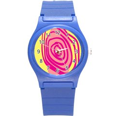 Doodle Shapes Large Line Circle Pink Red Yellow Round Plastic Sport Watch (s) by Alisyart