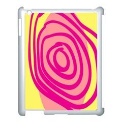 Doodle Shapes Large Line Circle Pink Red Yellow Apple Ipad 3/4 Case (white) by Alisyart