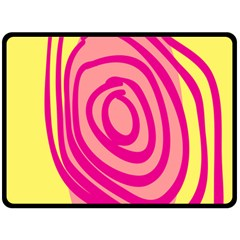 Doodle Shapes Large Line Circle Pink Red Yellow Double Sided Fleece Blanket (large)  by Alisyart