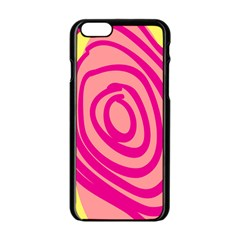 Doodle Shapes Large Line Circle Pink Red Yellow Apple Iphone 6/6s Black Enamel Case by Alisyart