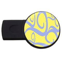 Doodle Shapes Large Waves Grey Yellow Chevron Usb Flash Drive Round (4 Gb) by Alisyart