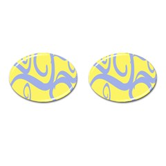 Doodle Shapes Large Waves Grey Yellow Chevron Cufflinks (oval) by Alisyart