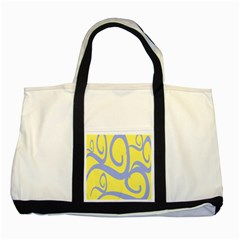 Doodle Shapes Large Waves Grey Yellow Chevron Two Tone Tote Bag by Alisyart