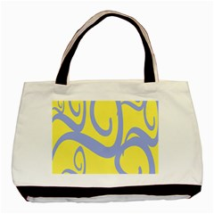 Doodle Shapes Large Waves Grey Yellow Chevron Basic Tote Bag (two Sides) by Alisyart