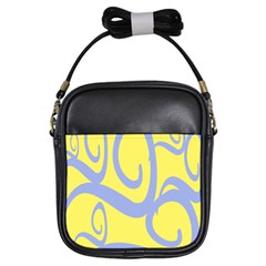 Doodle Shapes Large Waves Grey Yellow Chevron Girls Sling Bags by Alisyart