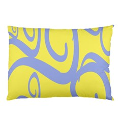 Doodle Shapes Large Waves Grey Yellow Chevron Pillow Case (two Sides) by Alisyart