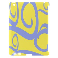 Doodle Shapes Large Waves Grey Yellow Chevron Apple Ipad 3/4 Hardshell Case (compatible With Smart Cover) by Alisyart